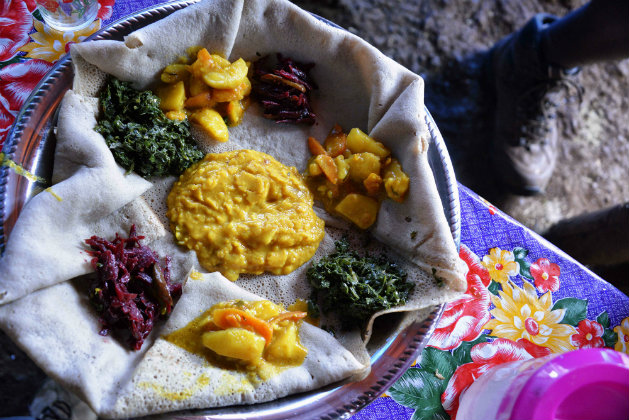 Ethiopian food at an Addis Ababa restaurant