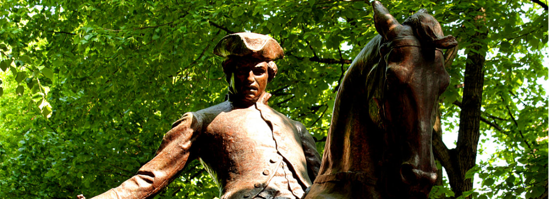 Paul Revere Statue on the Freedom Trail in Boston.