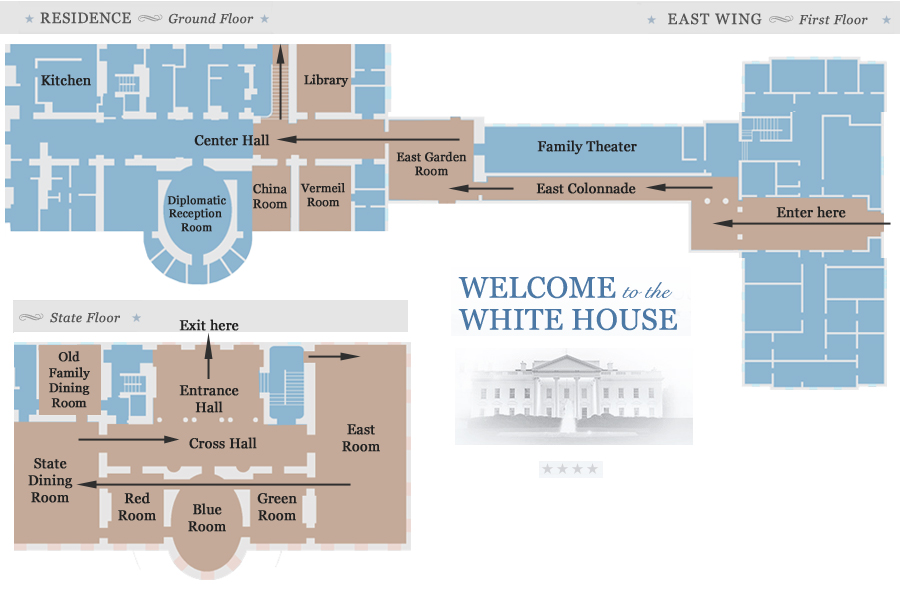 East Wing White House Tour Map