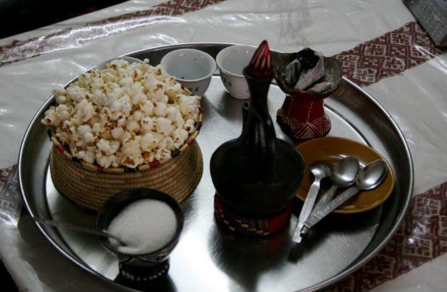 Traditional Ethiopian coffee ceremony