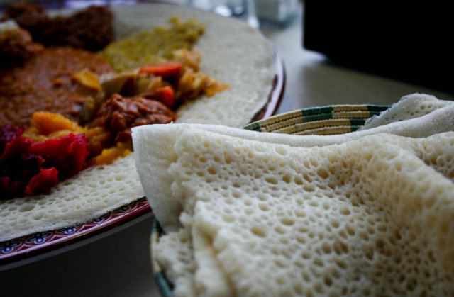 Injera at one of the best Addis Ababa restaurants