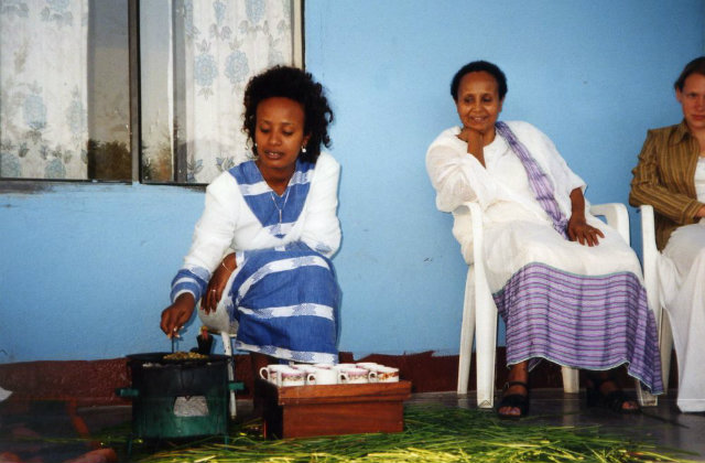 Women roasting Ethiopian coffee